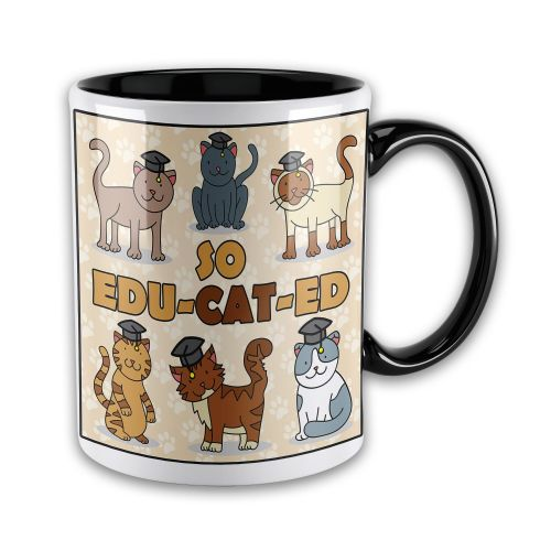 15oz So Edu-CAT-Ed Graduation Novelty Gift Mug - Black Inner & Handle